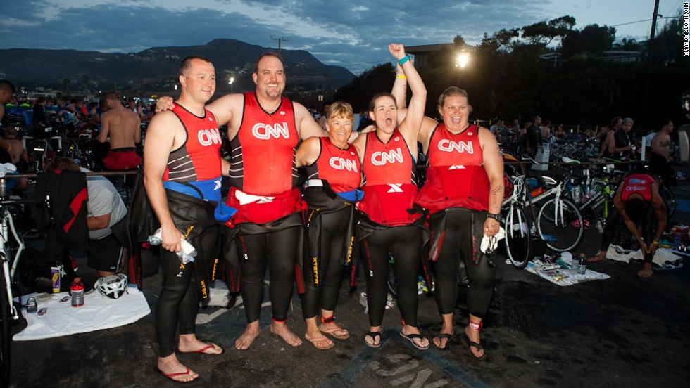 The CNN Fit Nation team got an early start at the Nautica Malibu Triathlon on September 8. It was the first triathlon for all five CNN readers who were selected to train for nine months with Dr. Sanjay Gupta. From left, Douglas Mogle, Stacy Mantooth, Rae Timme, Annette Miller and Tabitha McMahon.