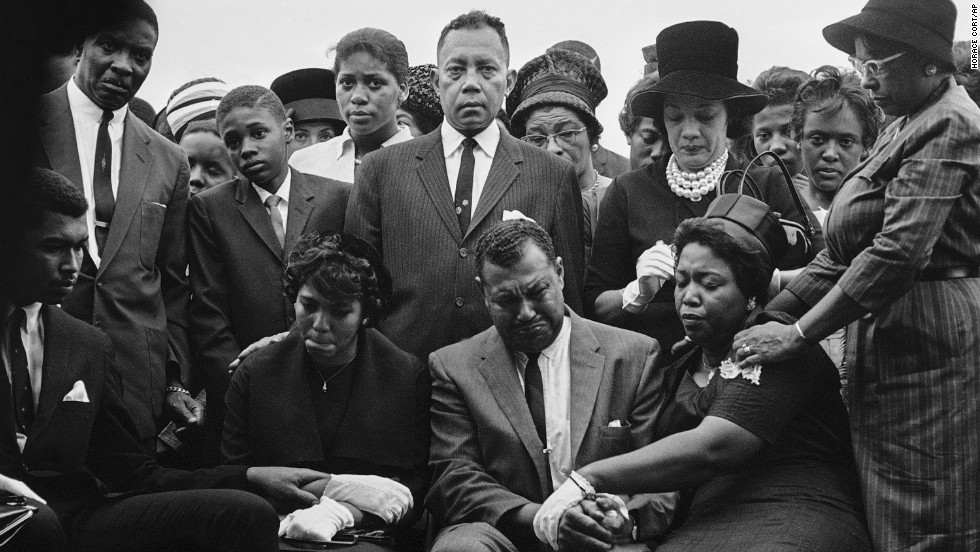 Family and friends of Carole Robertson attend graveside services for her in Birmingham on September 17, 1963.