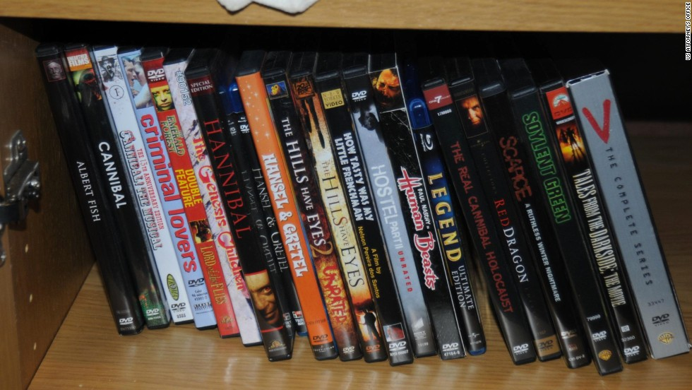 Several DVDs focusing on cannibalism were found on his shelves.