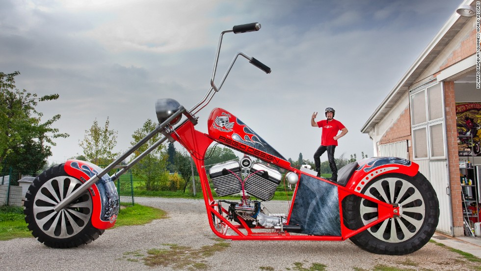The tallest rideable motorcycle measures 16 feet, 8.78 inches (5.10 meters) tall from the ground to the top of the handlebars. It was constructed by Fabio Reggiani, from Italy, and the motorcycle was ridden over a 100-m course at Montecchio Emilia, Italy, on March 24, 2012.