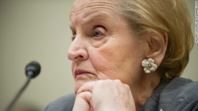 Former US Secretary of State Madeleine Albright testifies on 'The Call for Economic Liberty in the Arab World' on Capitol Hill in Washington, DC, May 21, 2013. AFP PHOTO/JIM WATSON (Photo credit should read JIM WATSON/AFP/Getty Images)