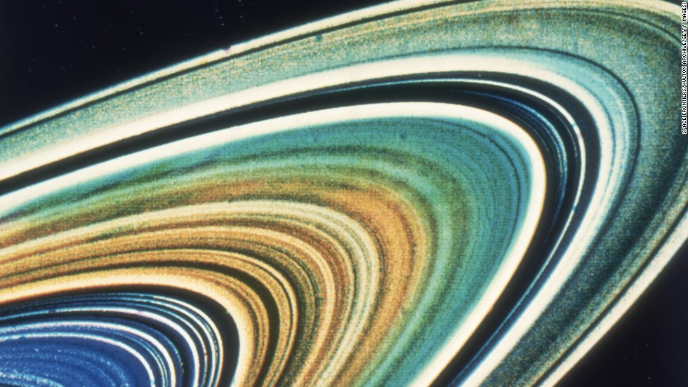 An enhanced color image of Saturn's rings, as seen by Voyager 2.