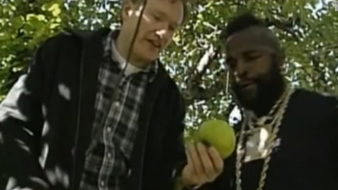 "In October 2000, Conan took Mr. T apple-picking, and the resulting segment was an instant classic. It was only nearly bested by the time Mr. T showed up during the ""Late Night"" 10th anniversary show and handed Conan a golden ""7"" for being funny 7 out of 10 years."