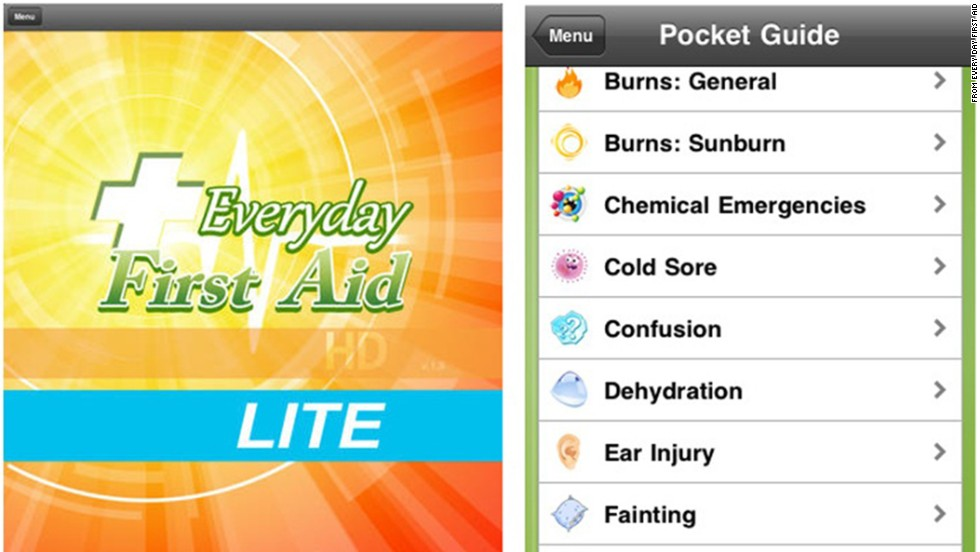"<a href=""https://itunes.apple.com/us/app/everyday-first-aid-hd-lite/id410782928?mt=8"" target=""_blank"">Everyday First Aid LITE</a> helps users quickly find answers to pressing medical questions about CPR, choking and allergic reactions, with or without an Internet connection. All of the information is up-to-date and is aggregated from the American Red Cross and other health organizations. (Available on iTunes)"