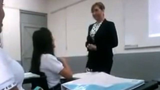 A teacher confronts a student who posted obscene insults on Twitter.