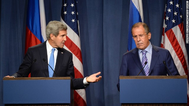 "US Secretary of State John Kerry (L) and Russian Foreign minister Sergey Lavrov (R) give a press conference in Geneva following their meeting on Syria's chemical weapons, on September 12, 2013.  Russian Foreign Minister Sergei Lavrov on September 12 said there was still ""a chance for peace"" in Syria as he prepared for high-stakes talks with his US counterpart on a plan for Damascus to give up its chemical weapons. Before leaving for the talks in Geneva, Lavrov said during a visit to Kazakhstan that he was prepared to ""ensure Syria's adherence to the chemical weapon ban convention,"" which would include the country's total disclosure of its chemical arms sites.           AFP PHOTO/PHILIPPE DESMAZES        (Photo credit should read PHILIPPE DESMAZES/AFP/Getty Images)"