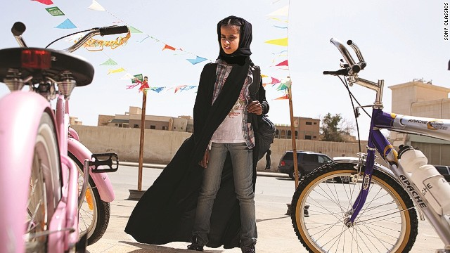 "A still from the film ""Wadjda"", about an 11-year-old girl who dreams of owning a green bicycle."