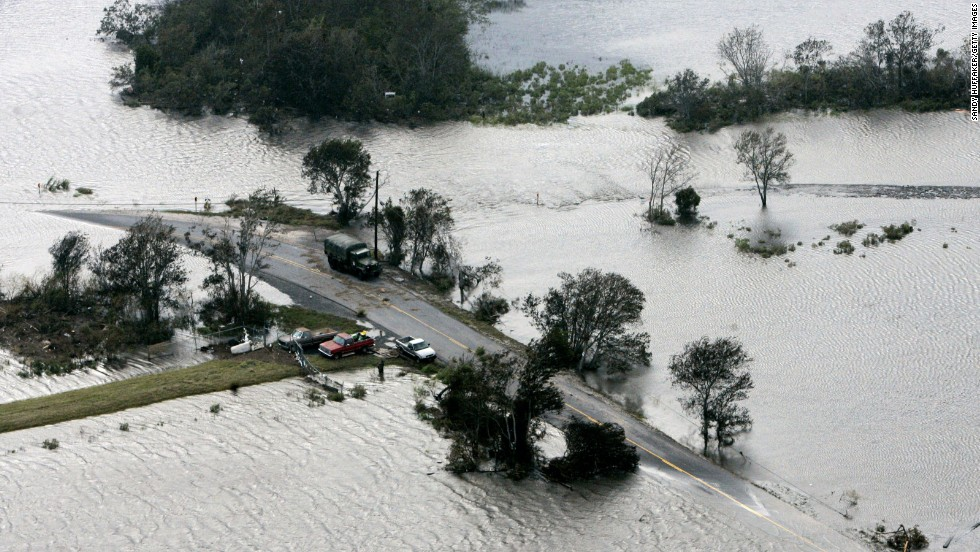 Just weeks after the horror of Katrina, Hurricane Rita collided with the Louisiana coast on September 24, 2005, as a Category 3 storm with maximum sustained winds of 115 mph. Rita's massive damage included this washed out road in Cocodrie, Louisiana.