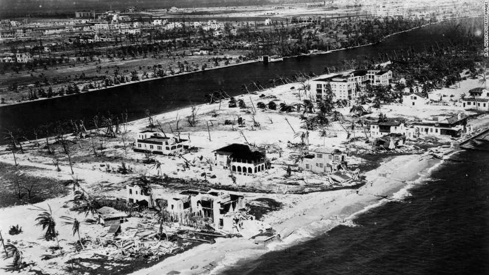 """The Great Miami Hurricane"" of 1926 was a Category 4 when it raced across Miami Beach and downtown Miami during the morning hours of September 18. Although its death toll is uncertain, more than 800 people were reported missing, and a Red Cross report lists 373 deaths. If the disaster had occurred in modern times, its estimated cost would be $90 billion."
