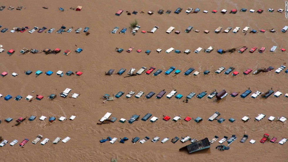 Parked vehicles sit partially submerged near Greeley, Colorado, on September 14.