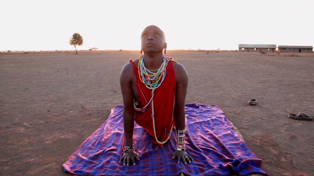 Maasai warrior embraces yoga