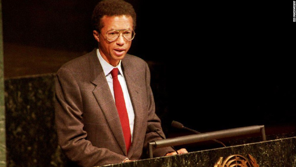 Ashe retired from tennis in 1980, a year after undergoing heart surgery.  In 1983 he underwent more heart surgery, before five years later he was diagnosed as being HIV positive. Here a gaunt Ashe is pictured addressing the World Health Organization on World Aids Day in December 1992, three months before his death.