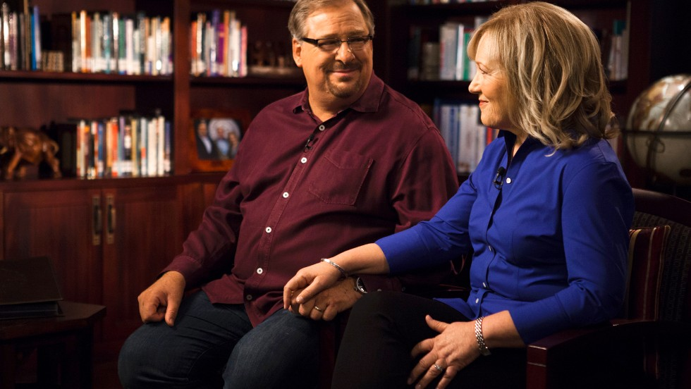 "Warren and his wife, Kay, are interviewed by CNN's Piers Morgan in Rancho Santa Margarita, California, on Monday, September 16. The couple has been outspoken about the plague of gun violence in the United States, especially since their son, Matthew, took his own life. In reference to that loss, Warren states that, ""in spite of America's best doctors, meds, counselors and prayers for healing, the torture of mental illness never subsided."""