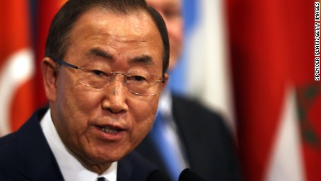 United Nations Secretary-General Ban Ki-moon prepares to speak to the media about the conclusion of the U.N. inspectors' report on chemical weapons use in Syria after a Security Council meeting at the United Nations headquarters on September 16, 2013 in New York City.
