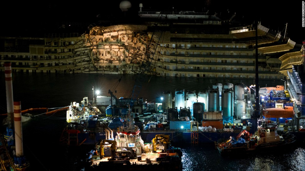 Damage to the right side of the ship is apparent in September.