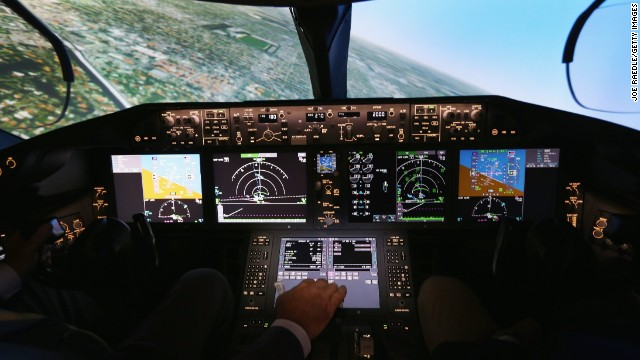 Pilots training to fly the Boeing Dreamliner will train on one of two 787 full-flight simulators, like the one shown here, at the company's training center in Miami. Boeing Captain Gary Lee Beard is shown demonstrating one of the simulators on August 29, 2013 in Miami, Florida.
