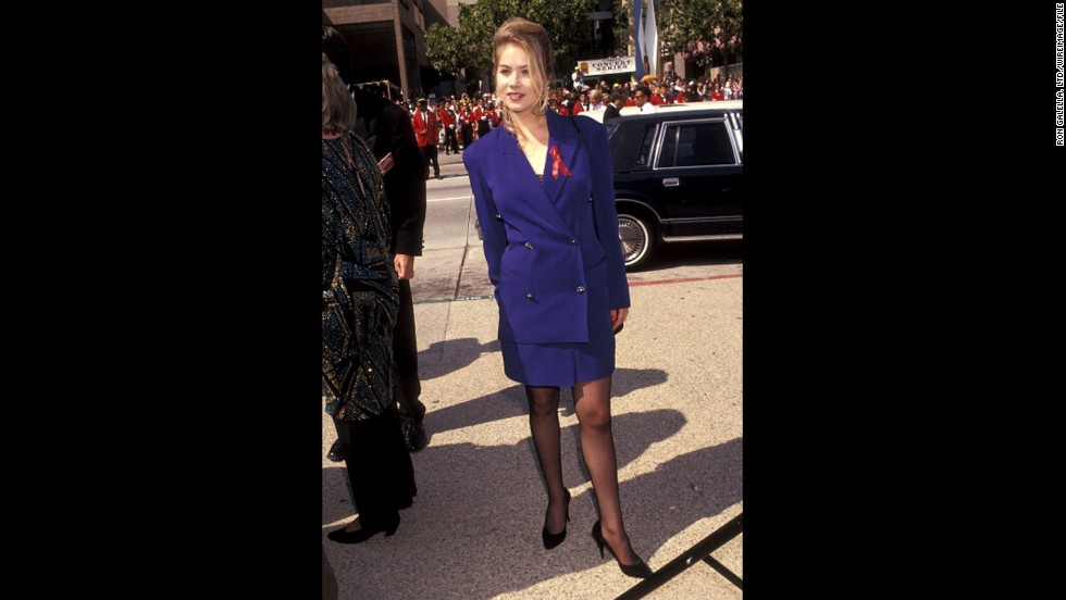 """Married, With Children"" actress Christina Applegate wore a mature (but stylish for the time) skirt suit to the 1991 Emmys."