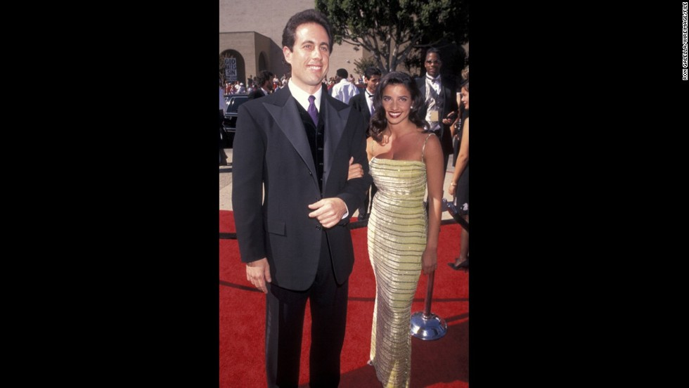 """Seinfeld"" star Jerry Seinfeld (seen here with then-girlfriend Shoshanna Lonstein) broke out the velvet for his appearance at the 1996 Emmys. He was nominated for outstanding lead actor in a comedy series that year."
