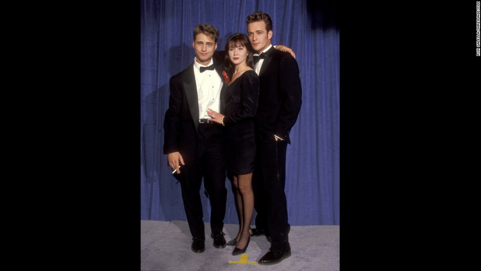"The stars of ""Beverly Hills, 90210"" -- (from left) Jason Priestley, Shannen Doherty and Luke Perry -- could've been mistaken as posing for a prom photo at the 1991 Emmys."