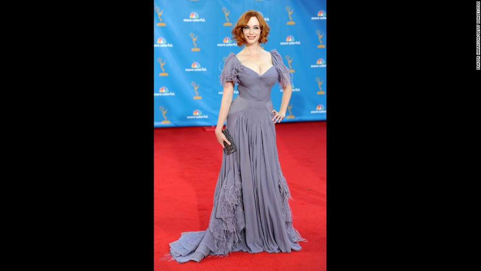 """Mad Men"" actress Christina Hendricks may have chosen a pale color for the 2010 Emmys, but the way she looked in her dress was impossible to miss."