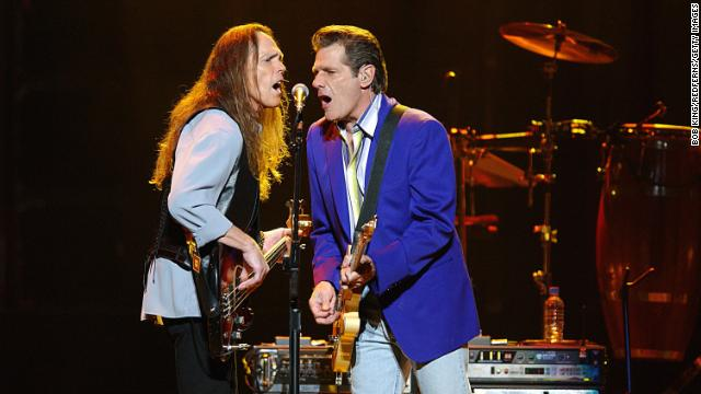 Timothy B. Schmit and Glenn Frey of the Eagles, perform at the Sydney Superdome in Austrailia on November 1, 2004.