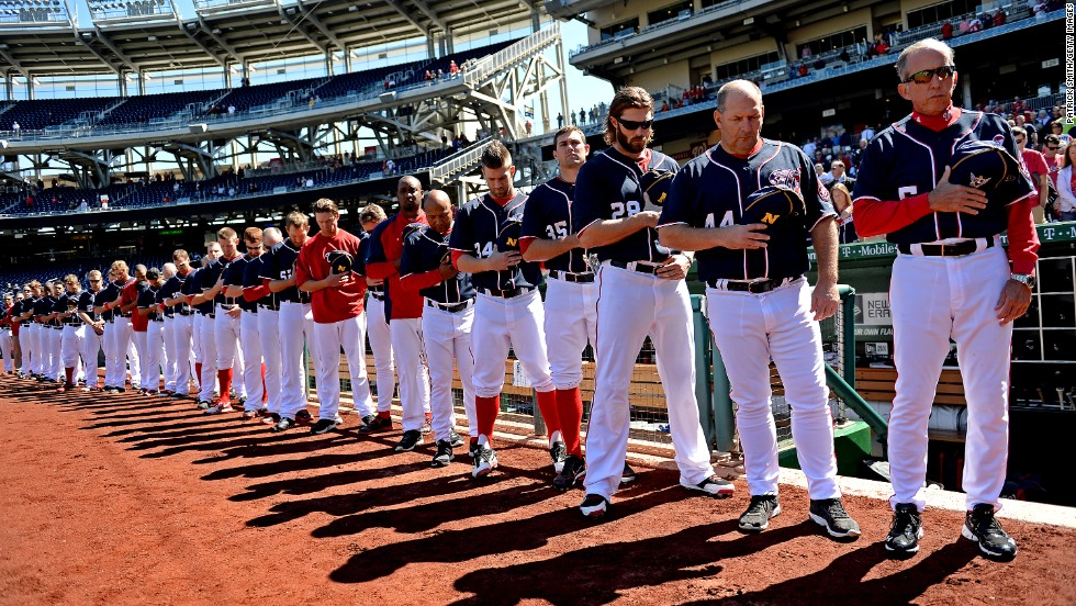 The Washington Nationals have a moment of silence for the shooting victims before their game on September 17.
