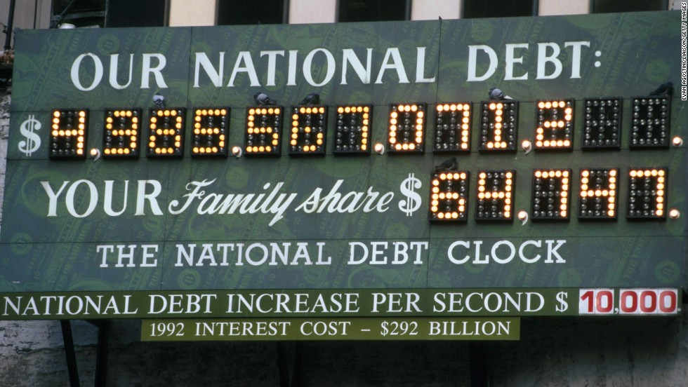 The national debt clock in New York is stopped during the government shutdown in November.