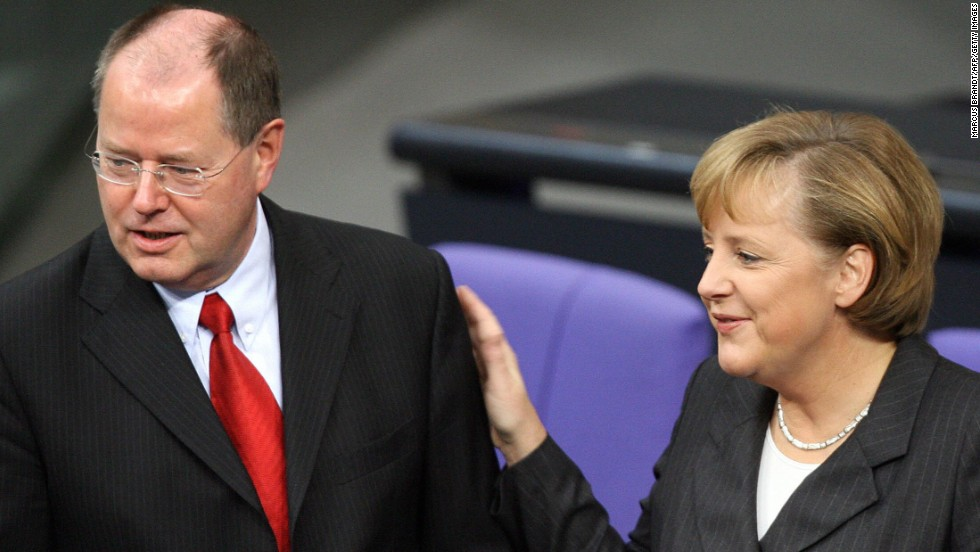 "Steinbrueck served as finance minister from 2005 to 2009, in Chancellor Angela Merkel's ""grand coalition"" government."