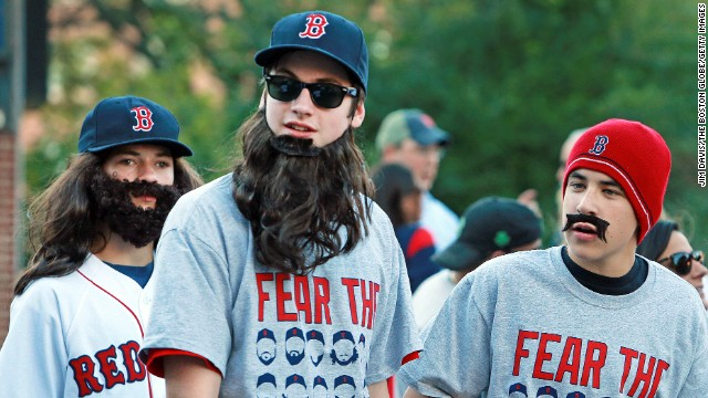 BOSTON: - SEPTEMBER 18: It was 'Dollar Beard Night' at Fenway Park, as fans with beards, real or not, were offered a ticket into the park for $1. The Boston Red Sox hosted the Baltimore Orioles in an MLB regular season game at Fenway Park. (Photo by Jim Davis/The Boston Globe via Getty Images)