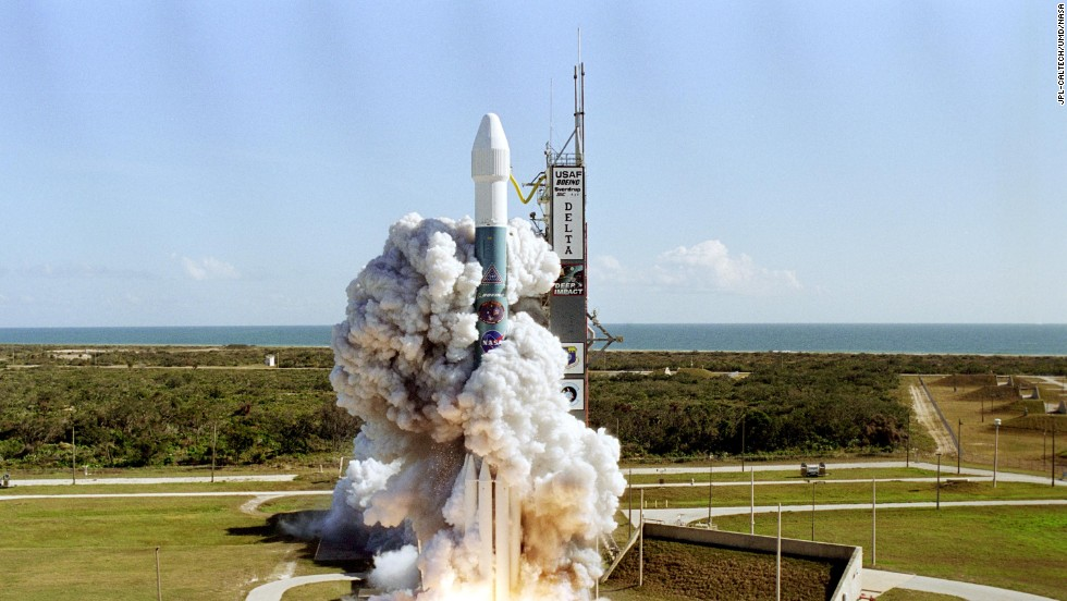 A Boeing Delta II rocket carries NASA's Deep Impact spacecraft as it lifts off in Cape Canaveral, Florida, on January 13, 2005. In a first-of-its-kind mission, the spacecraft was sent to gather information about the comet Temple 1. NASA declared the mission complete on Friday, September 20.