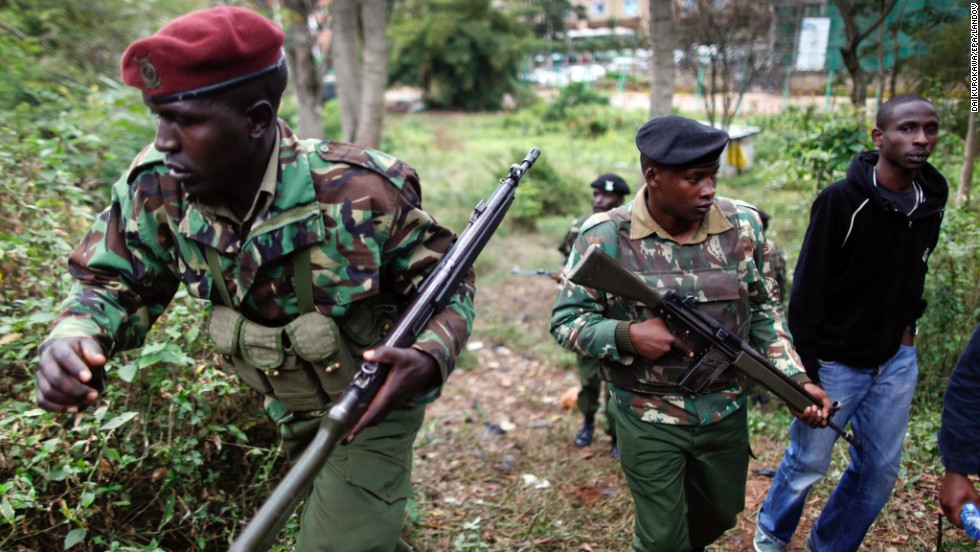 Kenyan paramilitary police officers patrol the area near the mall on Sunday, September 22.