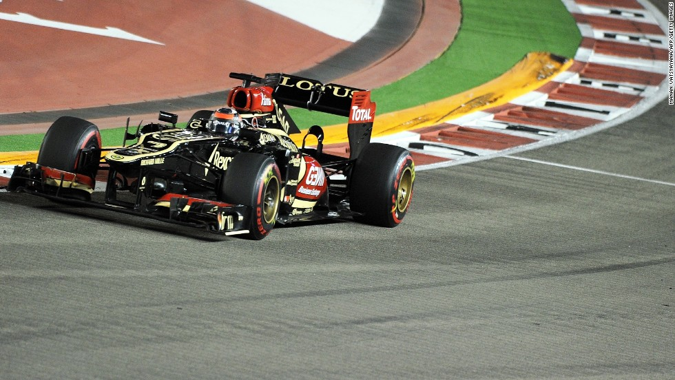 Like Alonso, Kimi Raikkonen battled his way up from down the grid to take third place for Lotus, despite being troubled by back problems in Saturday's qualifying.