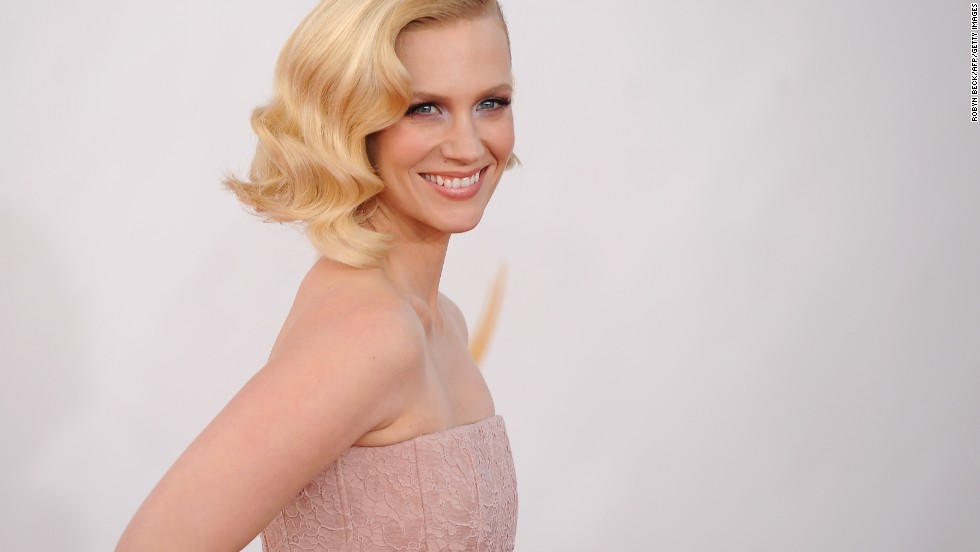 """Mad Men"" star January Jones wears a pale pink, floor-length Givenchy gown."