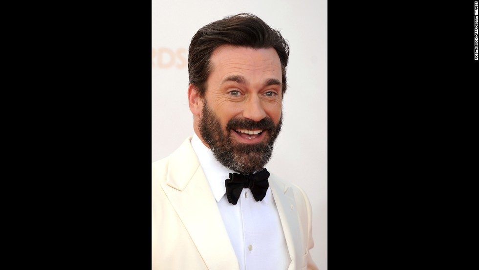 "The newly bearded ""Mad Men"" star Jon Hamm was one of the evening's presenters."
