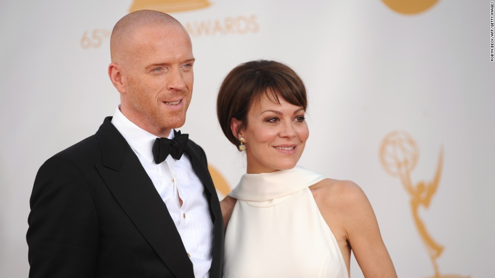 "Damian Lewis with his wife, Helen McCrory. He was nominated for outstanding lead actor in a drama series for ""Homeland"" but lost to ""The Newsroom's"" Jeff Daniels."