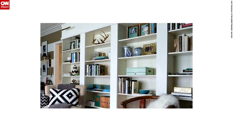 "<a href=""http://ireport.cnn.com/docs/DOC-1035316"">Kristin Cadwallader's</a> library is constantly growing, she said, and<a href=""http://bliss-athome.com/"" target=""_blank""> she restyles</a> her bookshelves all the time. Got a question about how she achieved this decor? Ask her in the comments section, below."