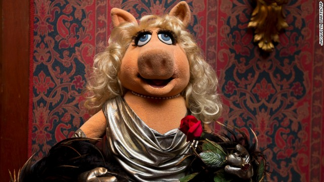 "A Miss Piggy muppet used in ""The Muppet Show,"" is all dressed up during a ceremony to donate additional Jim Henson objects to the Smithsonian's National Museum of American History in Washington."