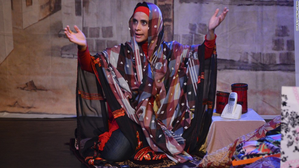 "Her one-woman show, ""Head Over Heels in Saudi Arabia,"" explores the love lives of various local women. In a nation where men can marry more than one wife, one character must grapple with the prospect of her husband taking another spouse."