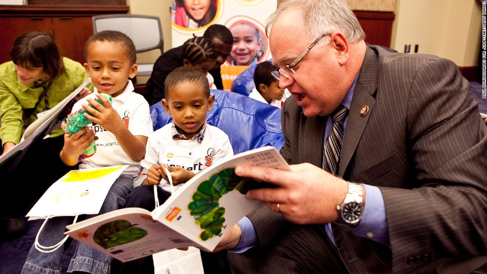 "Rep. Tim Walz, D-Minnesota, reads ""The Very Hungry Caterpillar"" in Washington in October 2009."