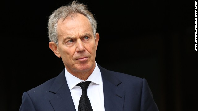 Former Prime Minister Tony Blair leaves the Ceremonial funeral of former British Prime Minister Baroness Thatcher at St Paul's Cathedral on April 17, 2013 in London, England.