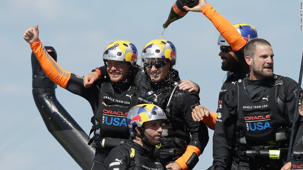 It didn't take long for the party to get started following Oracle Team USA's victory. The reigning champion, which had trailed 8-1 at one stage, won by 44 seconds in the final race to win the competition 9-8.