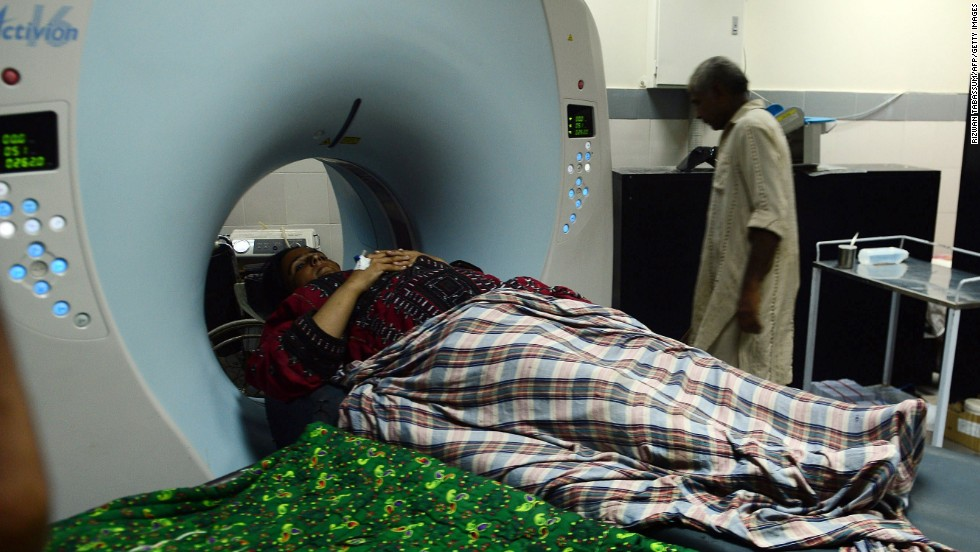 An earthquake survivor undergoes tests at a hospital in Karachi on September 25.