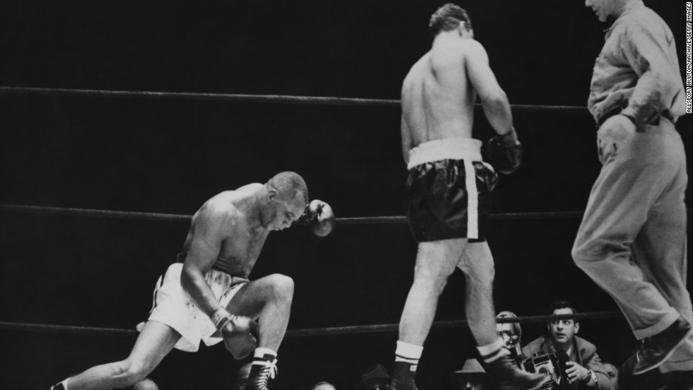 Sometimes it takes just one person to etch a place in the pantheon of great sporting comebacks. In 1952 American boxer Rocky Marciano (center) had been knocked down in the first round and was losing on all the judges' scorecards before he landed his own knockout blow in the 13th round to defeat Jersey Joe Walcott  (left) and become the heavyweight boxing champion of the world.