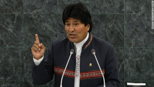 Bolivian President Evo Morales speaks at the 68th United Nations General Assembly on September 25, 2013 in New York City.