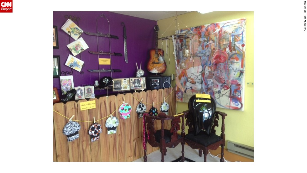At her shop, Booth features artwork on the walls that is inspired by her travels to New Orleans and her love of Creole and Mexican heritage.