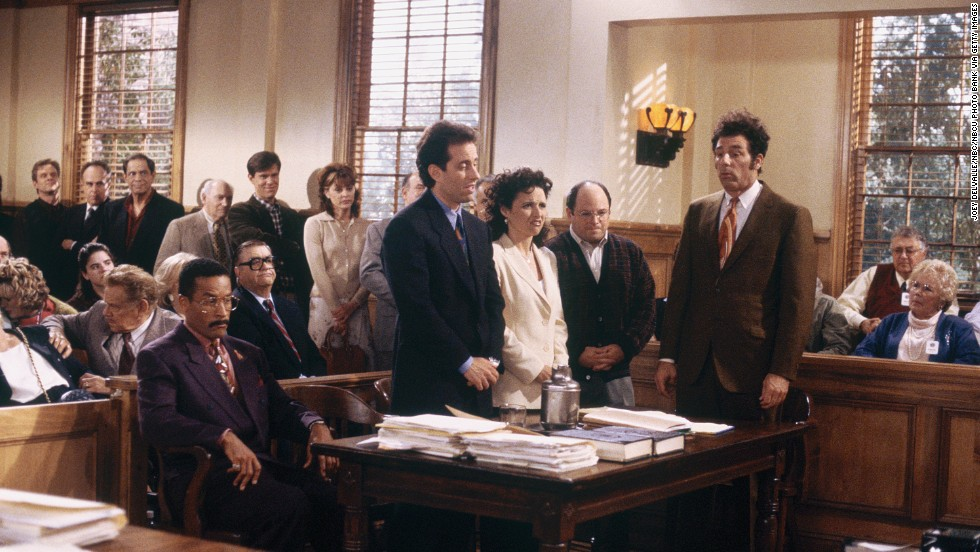 "For ""Seinfeld's"" final episode, co-creator Larry David returned to write the script. He apparently decided that the four main characters were beyond help, because they ended up in jail after a trial in which many of those they'd wronged testified."