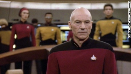 Patrick Stewart as Captain Jean-Luc Picard in a scene from an episode of
