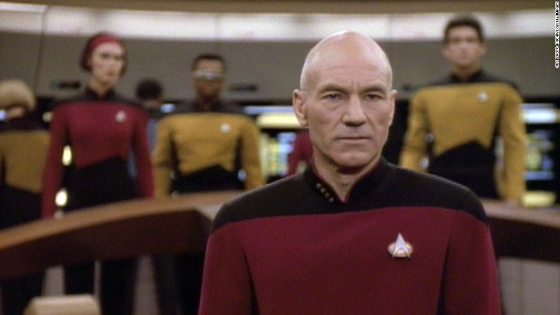 """Star Trek: The Next Generation"" brought a new Enterprise to television in 1987. After a rough start, Capt. Jean-Luc Picard (Patrick Stewart, seen here) and crew rivaled the original crew in popularity."