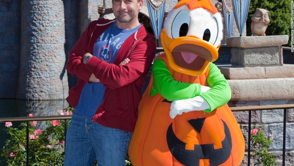 Steve Carell spends some quality time with Donald Duck on a trip to Disneyland September 29.