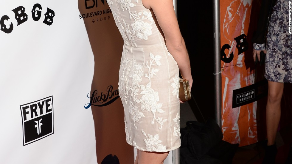 "Ashley Greene shows off her LWD on the red carpet of the ""CBGB"" movie premiere on October 1."